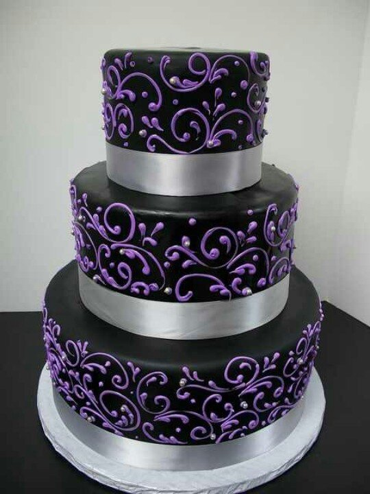 Black and Purple Wedding Cakes - Wedding and Bridal ...