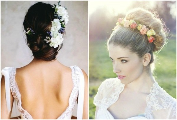 bridal hair with flowers wedding and bridal inspiration. Black Bedroom Furniture Sets. Home Design Ideas
