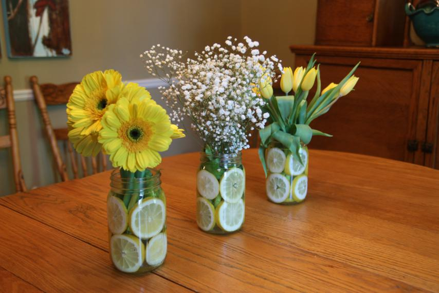 Mason jar flower wedding arrangements and bridal