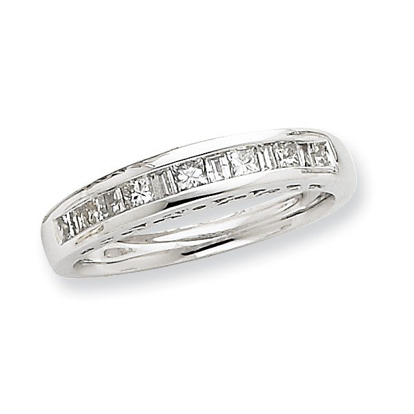 Mens 14k White Gold Wedding Band With Diamonds