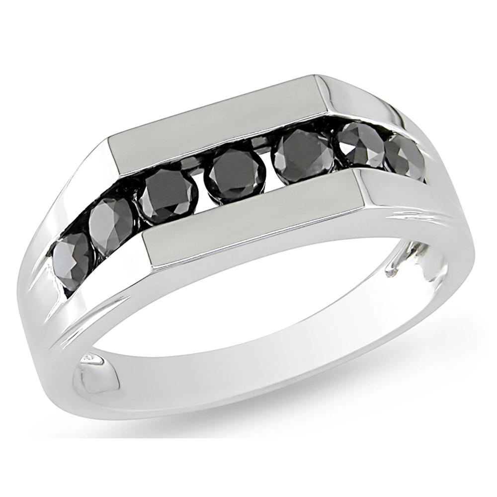 Mens White Gold Black Diamond Wedding Bands