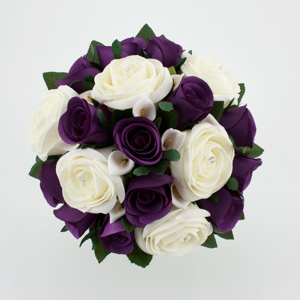 Dazzle with purple wedding flowers and bridal