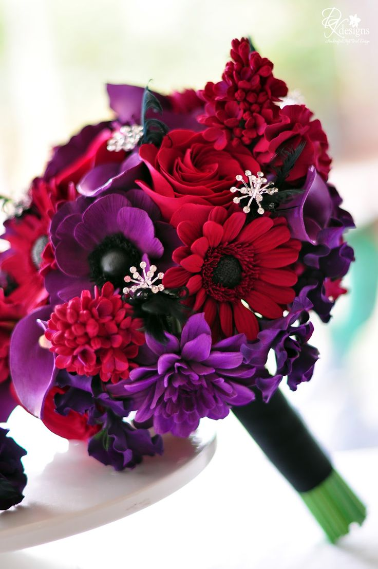 Purple And Red Wedding Flowers