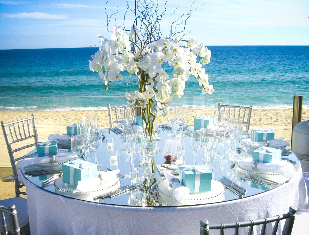 Beach centerpieces for wedding reception wedding and for Baby blue wedding decoration ideas