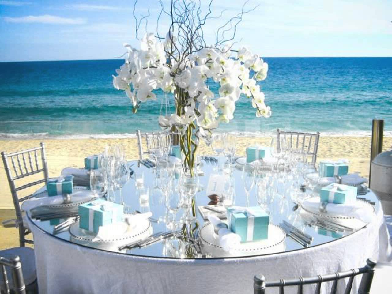 Beach themed wedding centerpieces ideas and