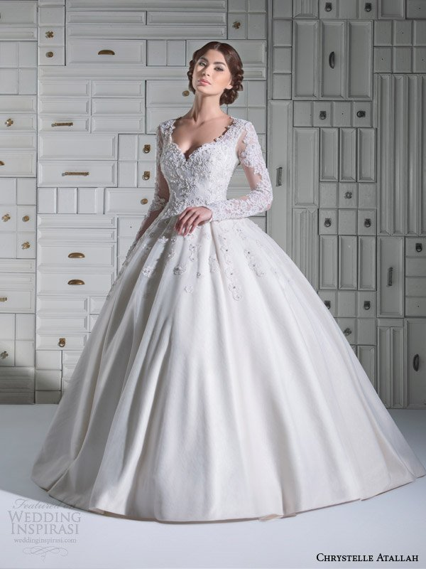 Wedding dress with sleeves ball gown