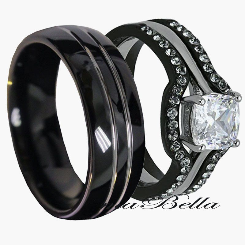 Black Wedding Rings His and Hers Wedding and Bridal Inspiration