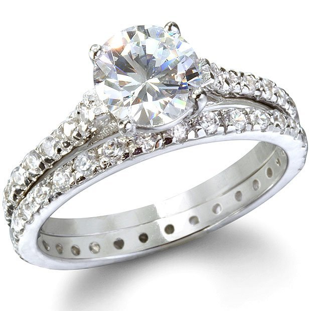 Cheap cz sterling silver wedding ring sets wedding and for Cheap bridal wedding ring sets