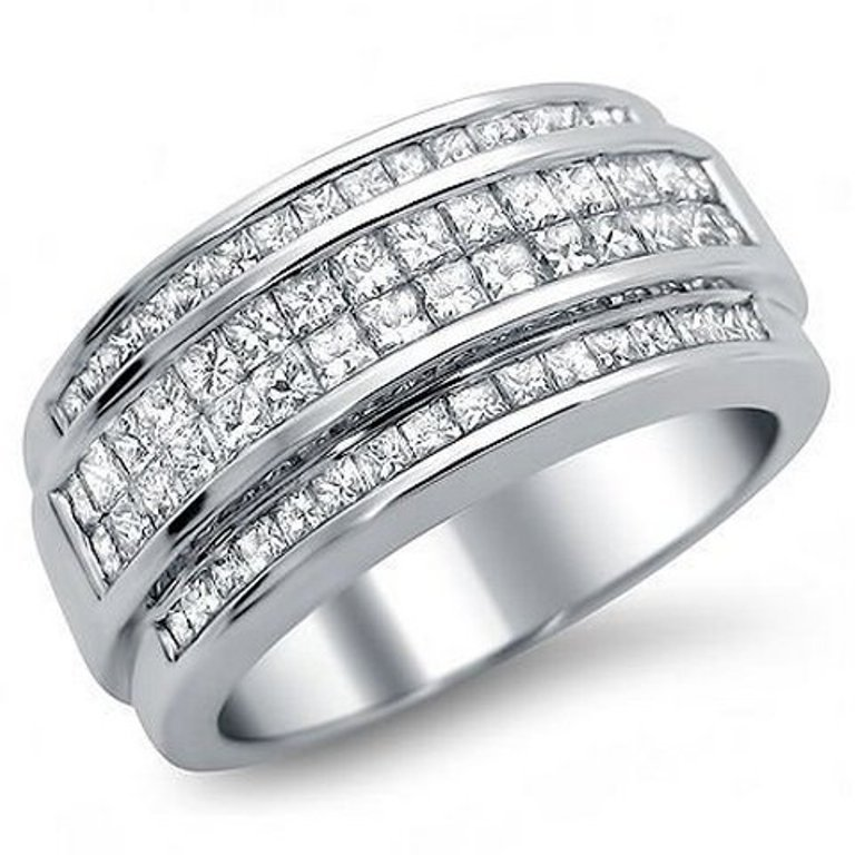 Mens White Gold Diamond Wedding Rings