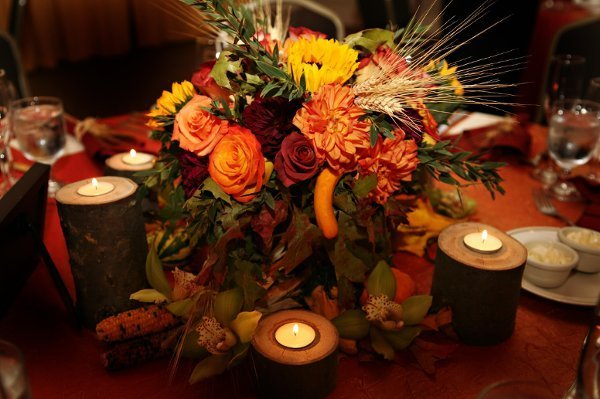 Rustic fall wedding centerpieces and bridal