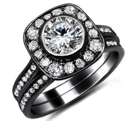 black band engagement rings wedding and bridal