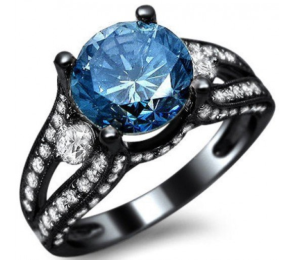 Black Gold Blue Diamond Engagement Ring Wedding and Bridal Inspiration