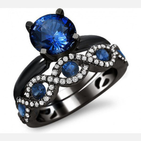 Black and Blue Diamond Engagement Rings Wedding and Bridal Inspiration