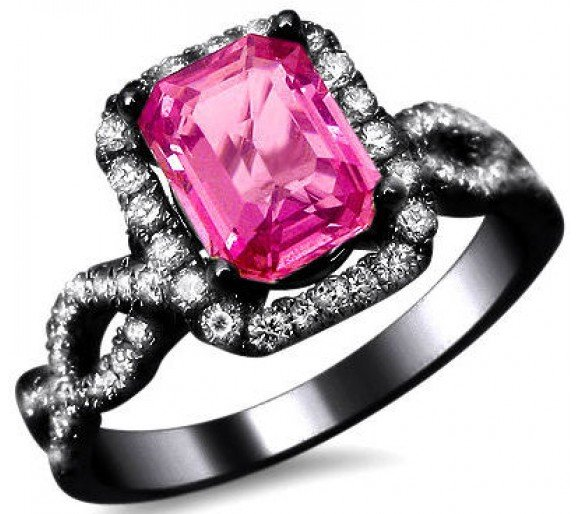 Black And Pink Wedding Rings: Black And Pink Engagement Rings For Women