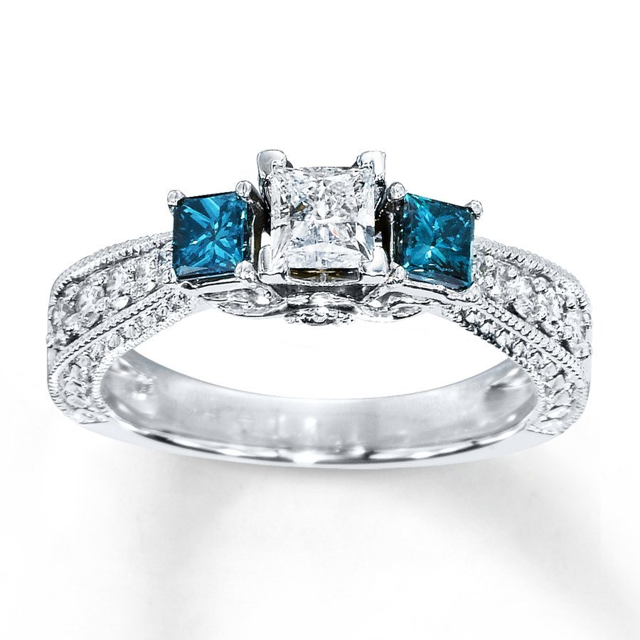 blue and white diamond engagement rings wedding and With blue and white diamond wedding rings