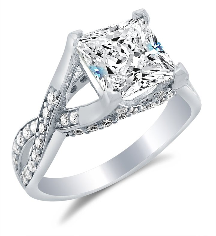 cubic zirconia engagement rings white gold princess cut
