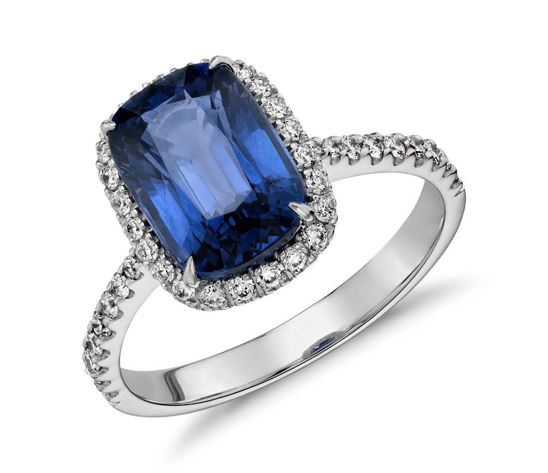 Cushion Cut Sapphire Engagement Rings Wedding and Bridal Inspiration