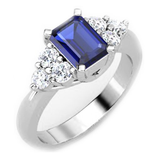 emerald cut blue sapphire engagement rings wedding and