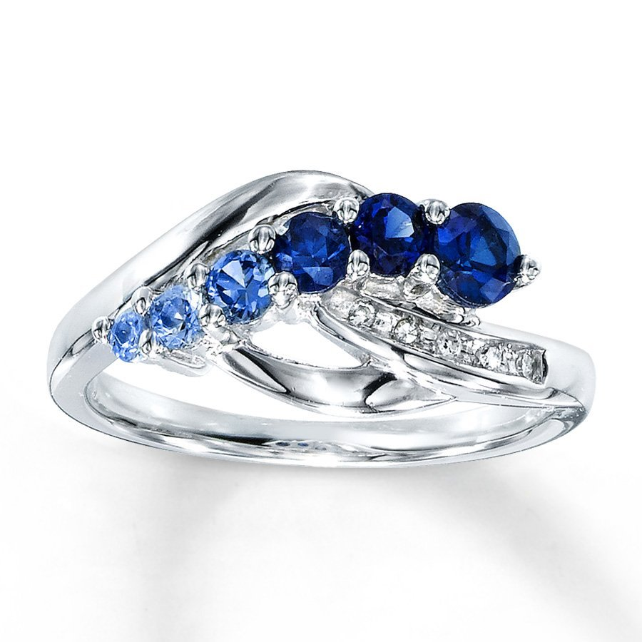 Lab created blue sapphire engagement rings wedding and for Lab created diamond wedding rings
