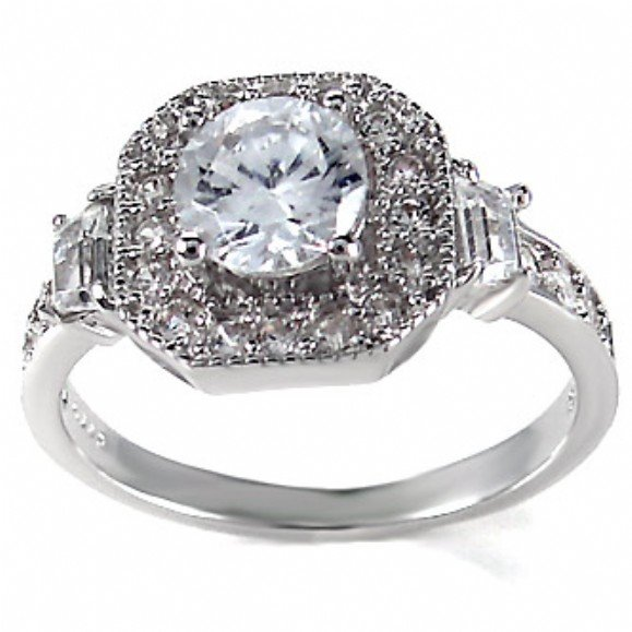 silver cubic zirconia engagement rings wedding and