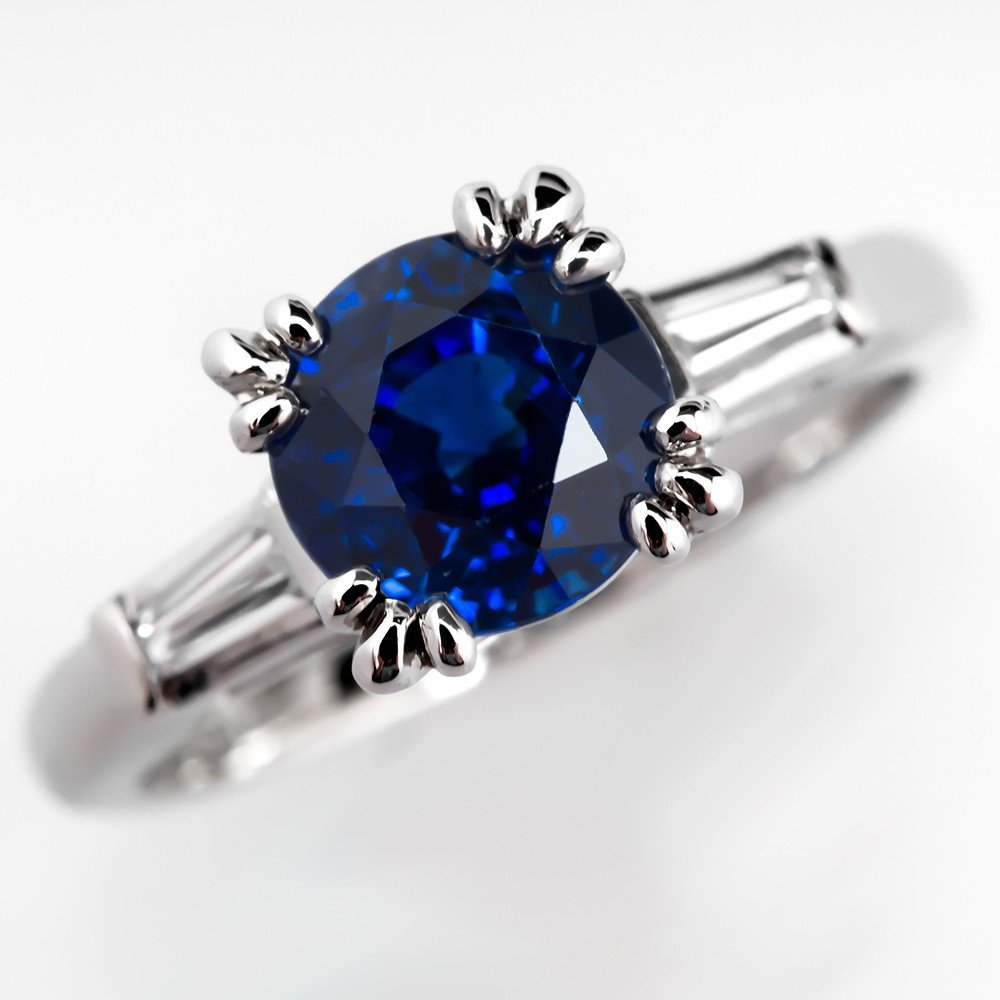 Vintage Blue Sapphire Engagement Rings Wedding and Bridal Inspiration
