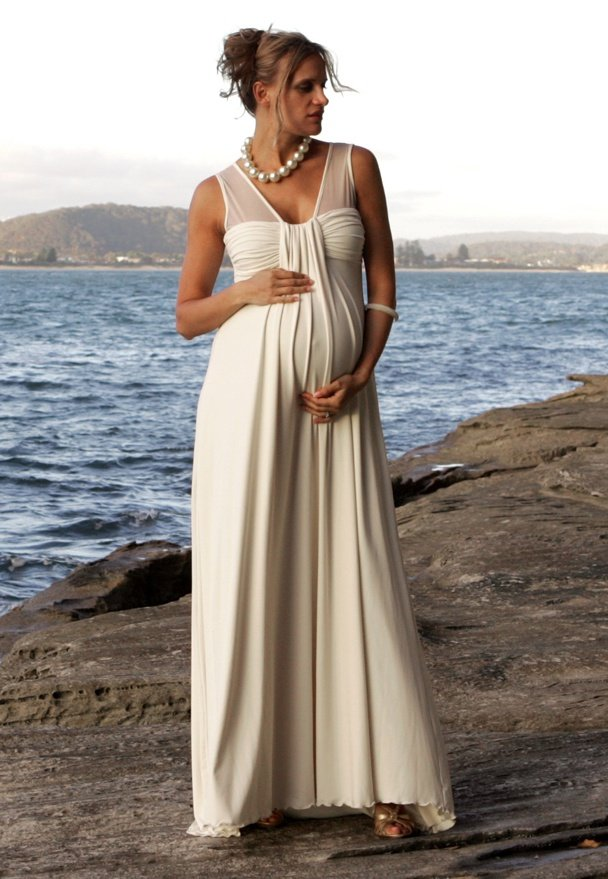 Maternity beach wedding dresses wedding and bridal for Pregnancy dress for wedding