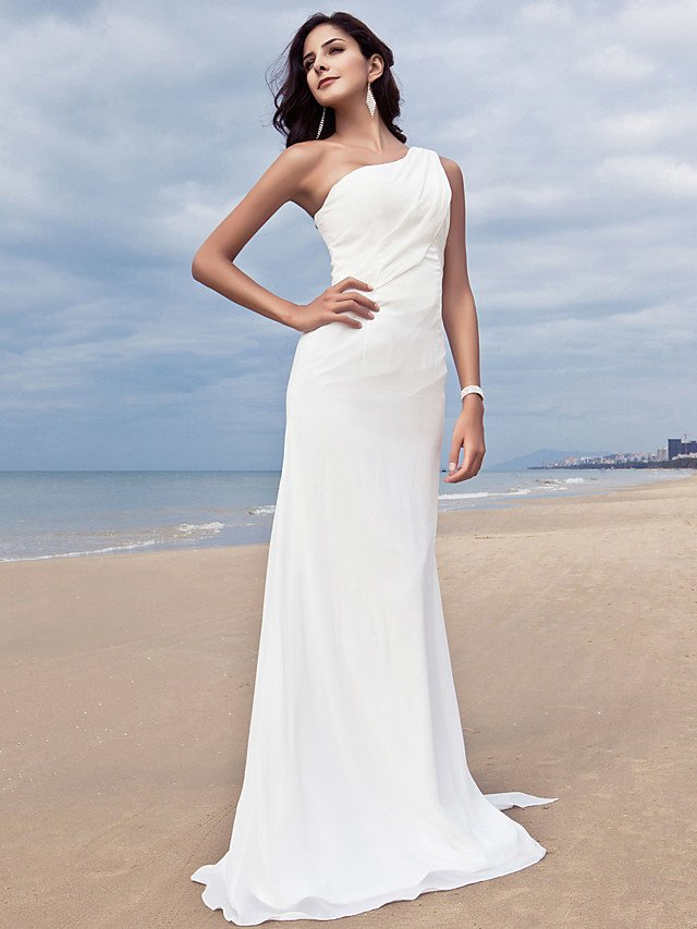 One shoulder beach wedding dress wedding and bridal for Best wedding dresses for beach weddings