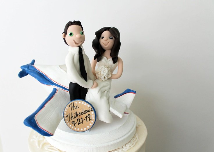 Bride Groom Airplane Cake Topper