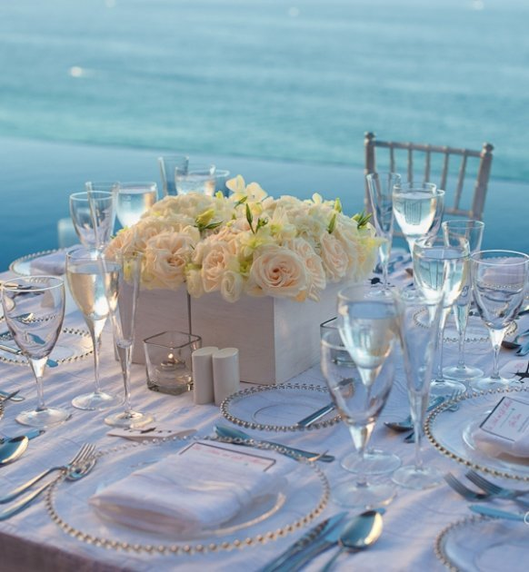 Beach wedding table centerpieces and bridal