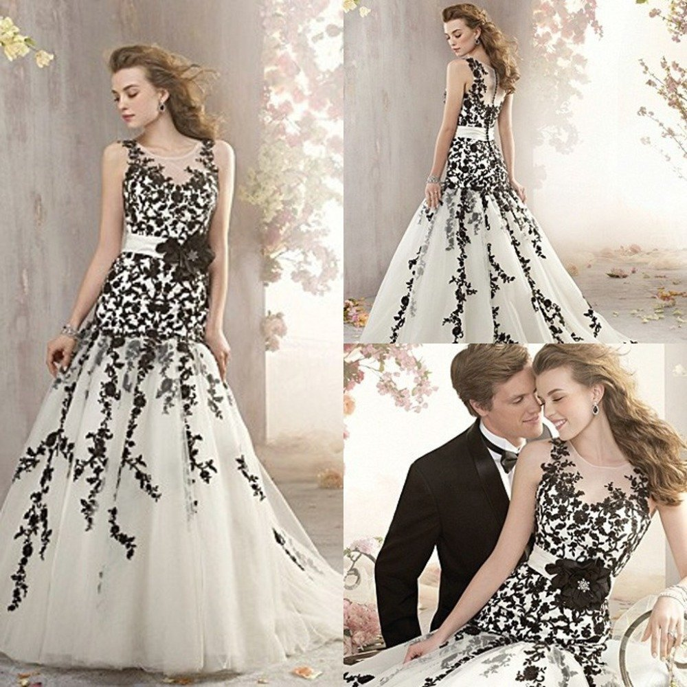 Black white and silver wedding dresses wedding and for Wedding dresses white and black