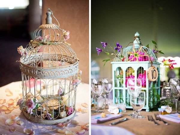 "Bird cages come in various shapes and can be painted to match the wedding theme if necessary. In this example, the bird cages were surrounded by a ""nest"" of white Baby's Breath, also known as Gypsophila (Gypsophila Paniculata is the most highly-revered variety)."