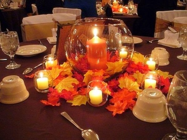 Fall wedding table decorations and bridal