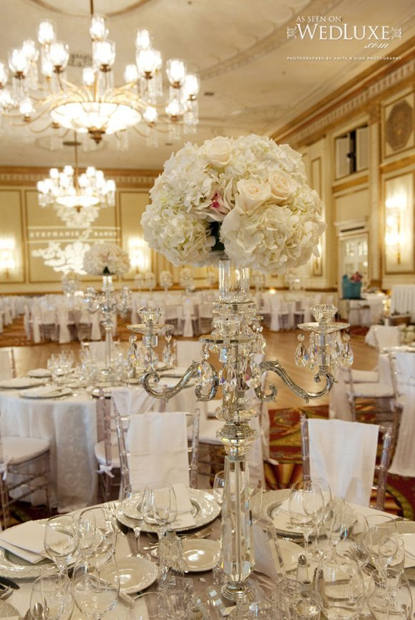 Tall white flower wedding centerpieces and