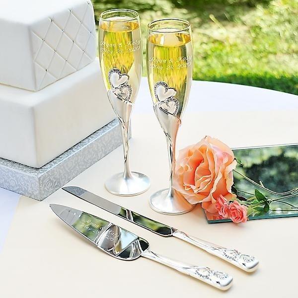 wedding champagne flutes and cake server sets wedding and bridal inspiration. Black Bedroom Furniture Sets. Home Design Ideas