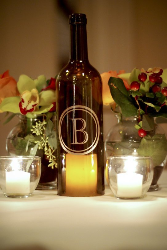 Wine bottle decorations for weddings wedding and bridal for Wedding table decorations with wine bottles