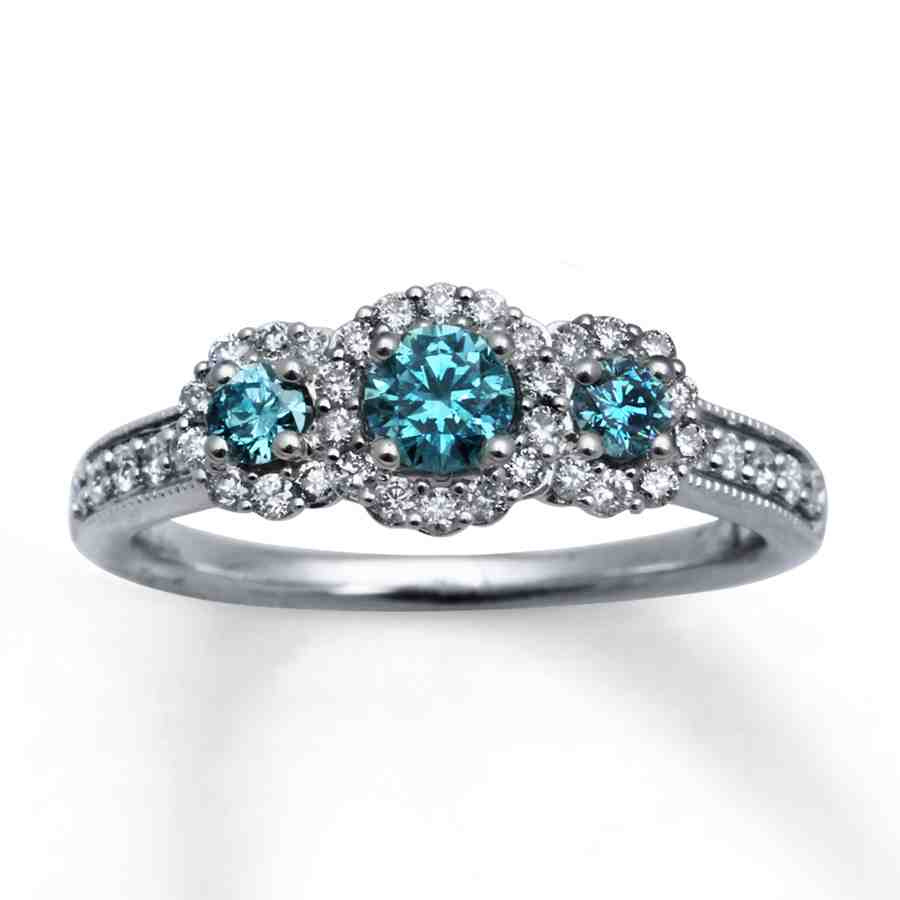 blue diamond engagement ring set wedding and bridal
