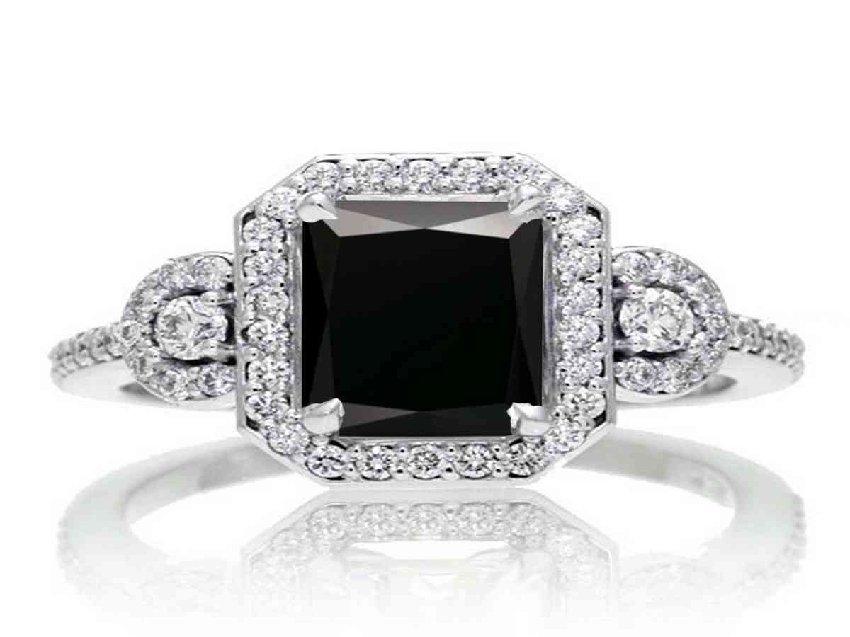 Emerald Cut Black Diamond Engagement Rings Wedding and Bridal Inspiration