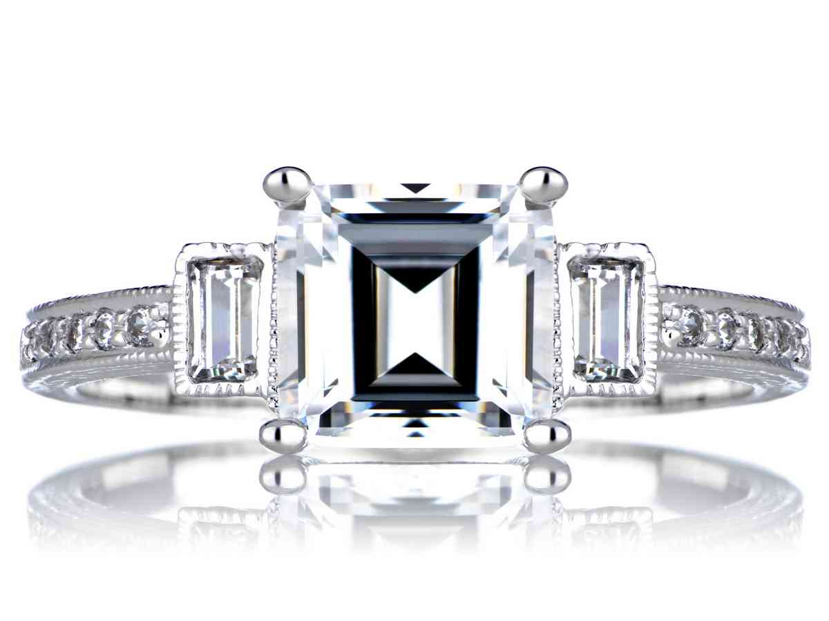 emerald cut cubic zirconia engagement rings wedding and