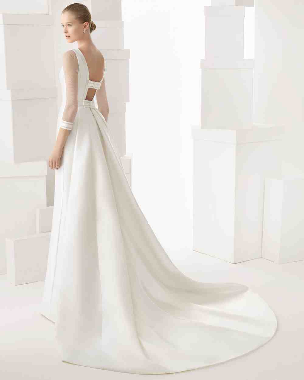 Long sleeve satin wedding dresses wedding and bridal for Silk wedding dresses with sleeves