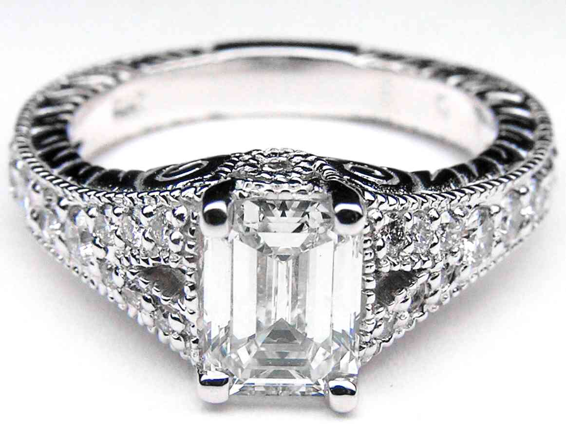 Vintage Emerald Cut Diamond Engagement Rings Wedding And