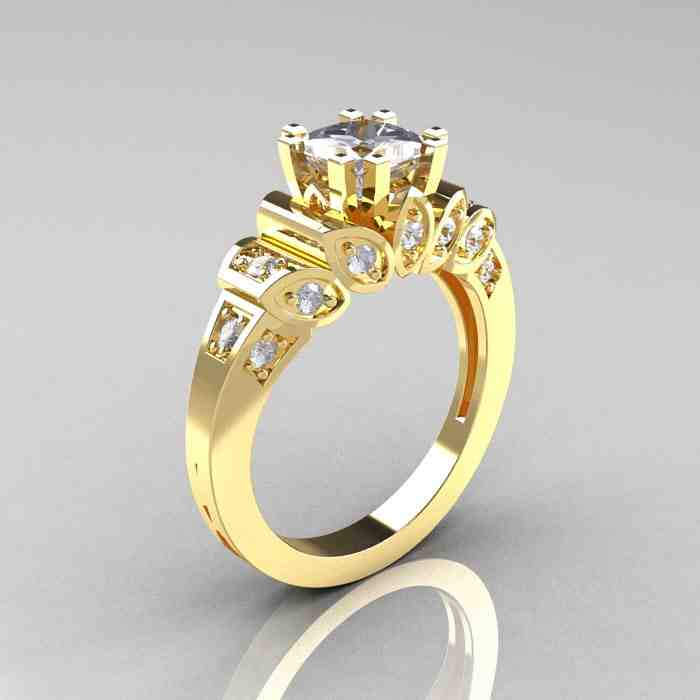 14k Yellow Gold Diamond Engagement Rings