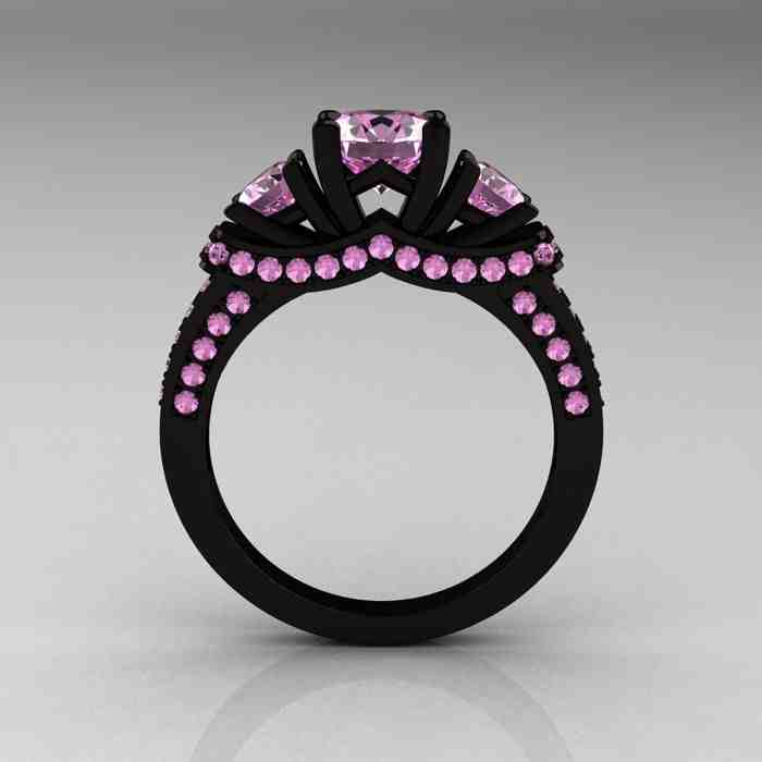 Black Engagement Ring With Pink Diamonds Wedding and Bridal Inspiration