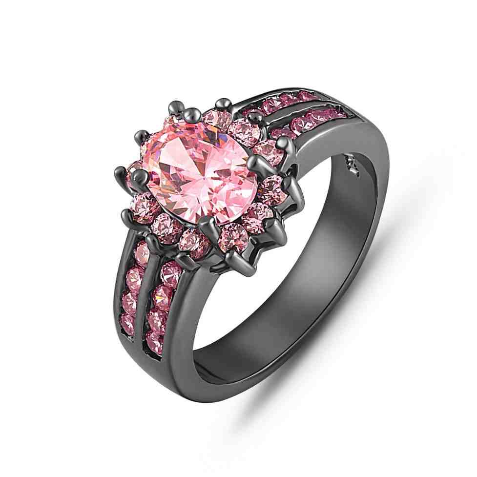 Wedding Rings With Pink Black Gold And Pink Diamond Engagement Rings Wedding And