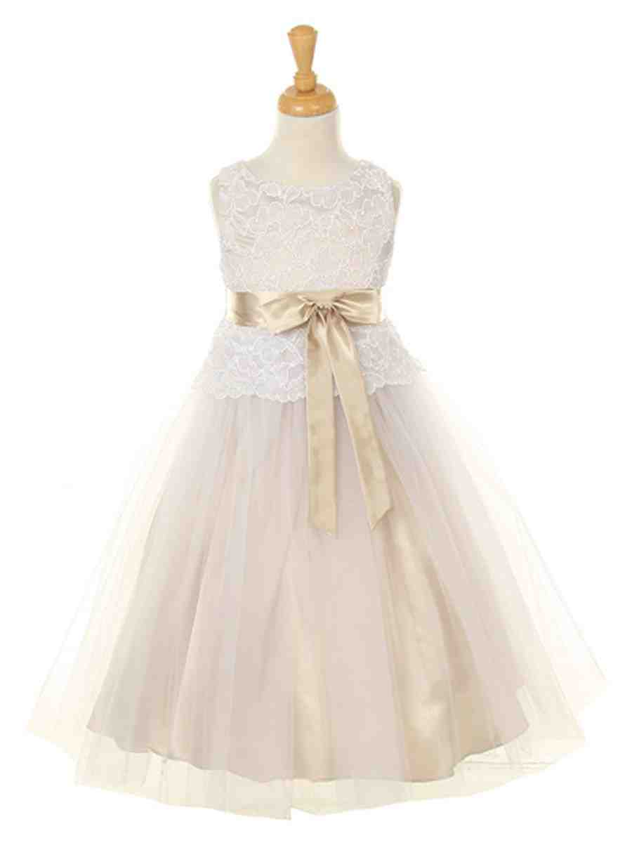 Champagne colored flower girl dresses wedding and bridal for Flowers for champagne wedding dress