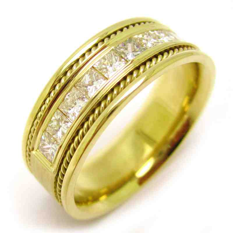 Mens yellow gold wedding bands with diamonds wedding and for Mens diamond wedding rings yellow gold