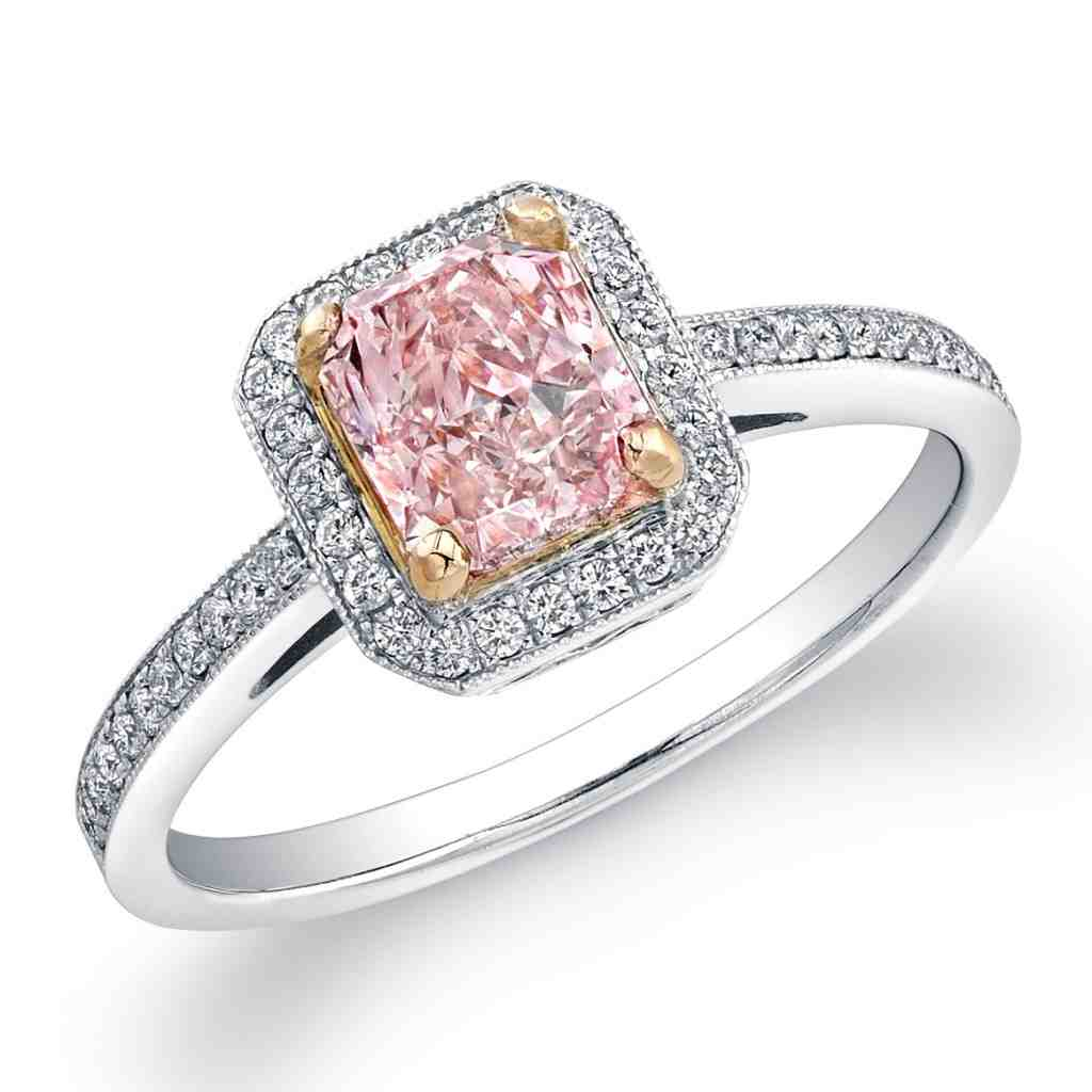 Natural pink diamond engagement rings wedding and bridal for Wedding rings with pink