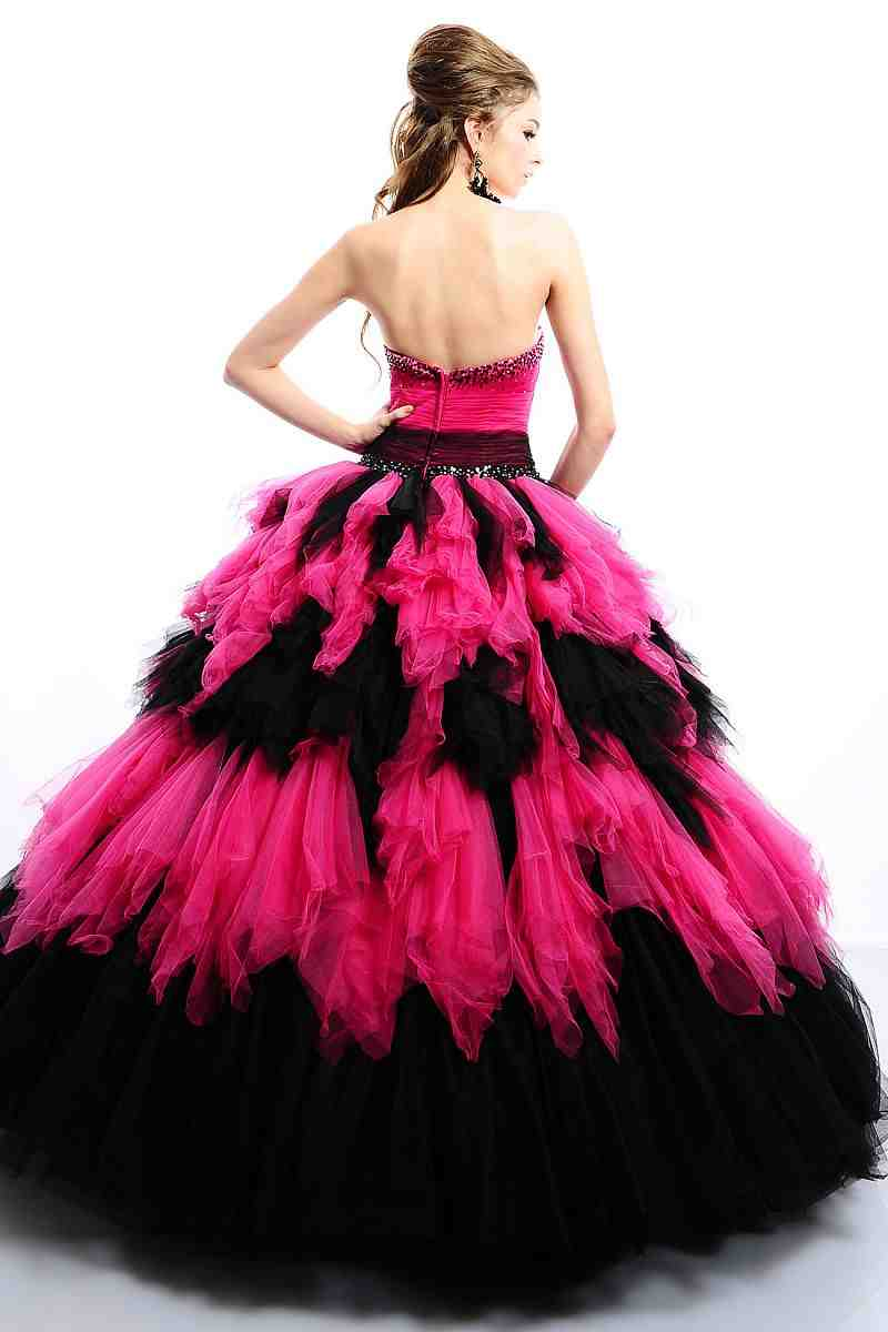 Pink and black wedding dresses wedding and bridal for Black and pink wedding dress