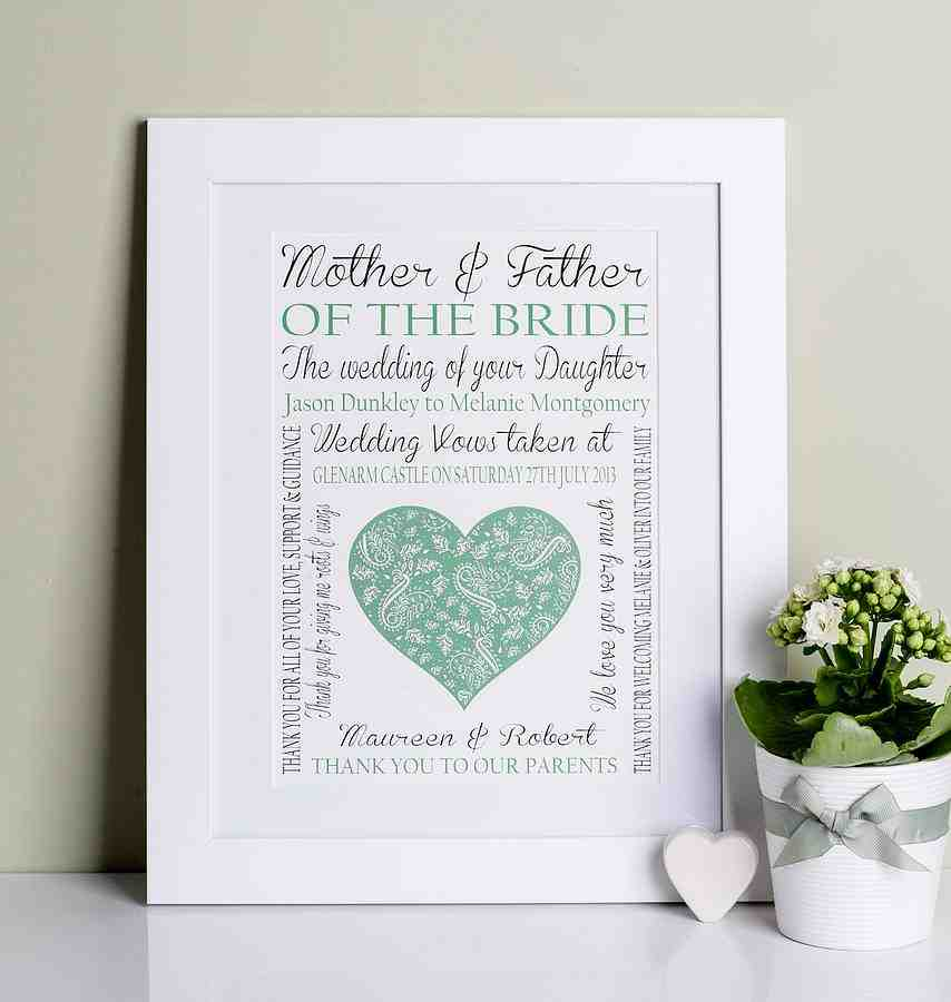 Unique wedding gifts for parents of the bride and groom for Best gifts for parents for wedding