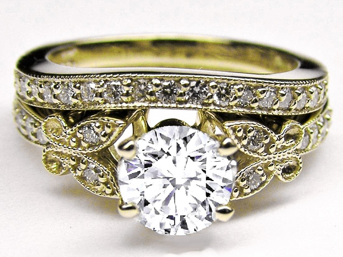 Vintage Yellow Gold Diamond Engagement Rings - Wedding and ...