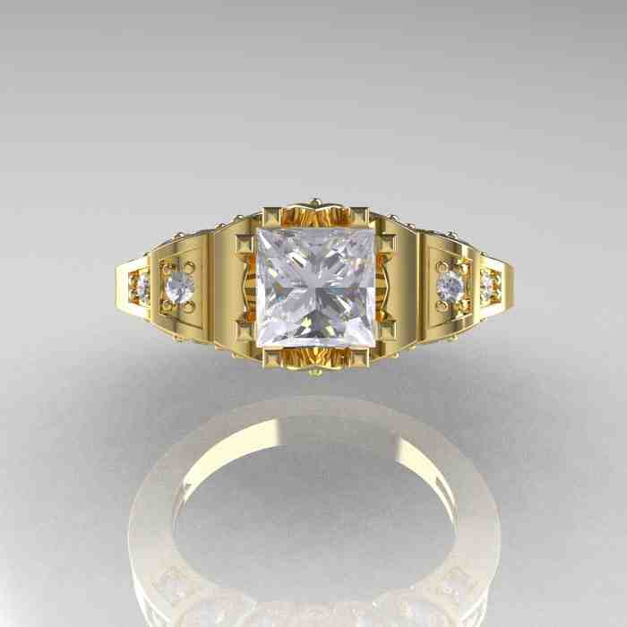 Yellow Gold Cubic Zirconia Engagement Rings Wedding And Bridal Inspiration